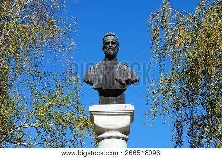Drobeta Turnu Severin, Romania - 10.08.2018: Decebal King Statue Landmark Architecture