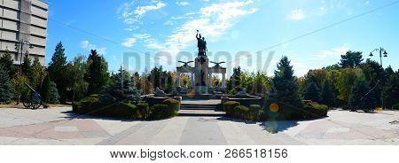 Drobeta Turnu Severin, Romania - 10.08.2018: Monument Of Heroes Landmark Panorama