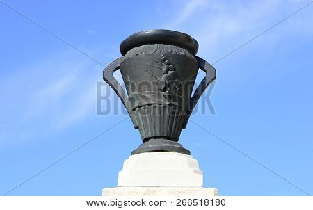 Drobeta Turnu Severin, Romania - 10.08.2018: Monument Of Heroes Landmark Vase Detail