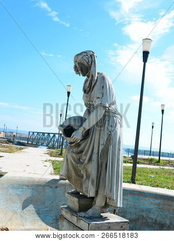 Drobeta Turnu Severin, Romania - 10.08.2018: Iron Gates Region Museum Fountain Statue