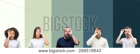 Collage of group of young people over colorful isolated background doing ok gesture shocked with surprised face, eye looking through fingers. Unbelieving expression.
