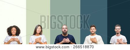 Collage of group of young people over colorful isolated background smiling with hands on chest with closed eyes and grateful gesture on face. Health concept.