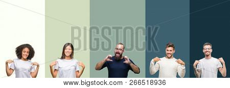 Collage of group of young people over colorful isolated background looking confident with smile on face, pointing oneself with fingers proud and happy.