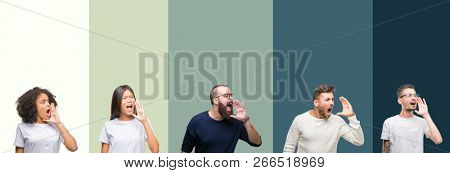Collage of group of young people over colorful isolated background shouting and screaming loud to side with hand on mouth. Communication concept.