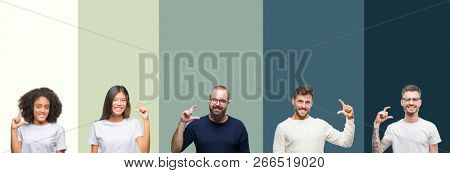 Collage of group of young people over colorful isolated background smiling and confident gesturing with hand doing size sign with fingers while looking and the camera. Measure concept.
