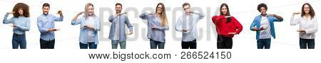 Composition of african american, hispanic and caucasian group of people over isolated white background gesturing with hands showing big and large size sign, measure symbol. Smiling looking