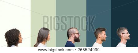 Collage of group of young people over colorful isolated background looking to side, relax profile pose with natural face with confident smile.