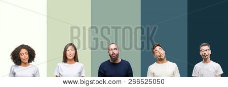 Collage of group of young people over colorful isolated background making fish face with lips, crazy and comical gesture. Funny expression.