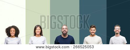 Collage of group of young people over colorful isolated background with a happy and cool smile on face. Lucky person.