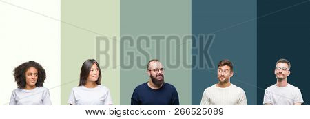Collage of group of young people over colorful isolated background smiling looking side and staring away thinking.