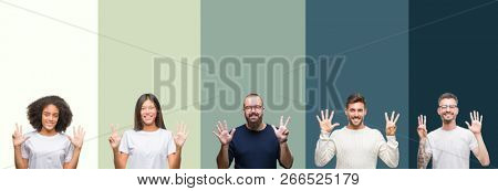 Collage of group of young people over colorful isolated background showing and pointing up with fingers number eight while smiling confident and happy.