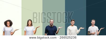 Collage of group of young people over colorful isolated background smiling cheerful presenting and pointing with palm of hand looking at the camera.