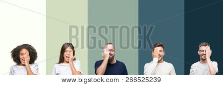 Collage of group of young people over colorful isolated background covering one eye with hand with confident smile on face and surprise emotion.