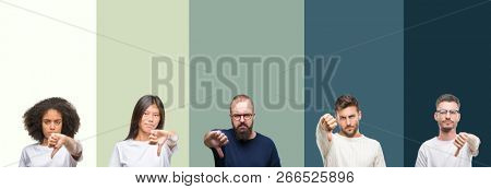 Collage of group of young people over colorful isolated background looking unhappy and angry showing rejection and negative with thumbs down gesture. Bad expression.