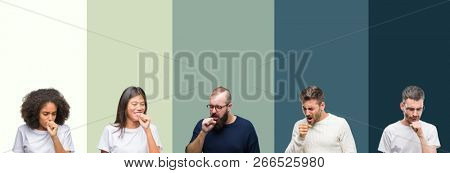 Collage of group of young people over colorful isolated background feeling unwell and coughing as symptom for cold or bronchitis. Healthcare concept.