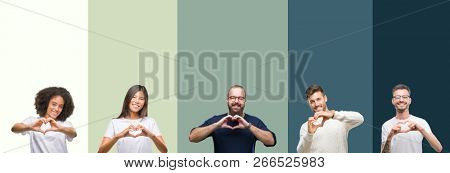 Collage of group of young people over colorful isolated background smiling in love showing heart symbol and shape with hands. Romantic concept.