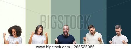 Collage of group of young people over colorful isolated background very happy and excited doing winner gesture with arms raised, smiling and screaming for success. Celebration concept.