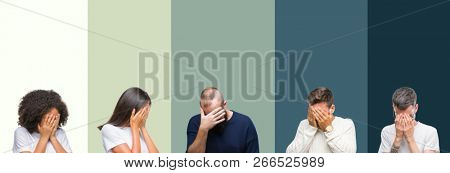 Collage of group of young people over colorful isolated background with sad expression covering face with hands while crying. Depression concept.