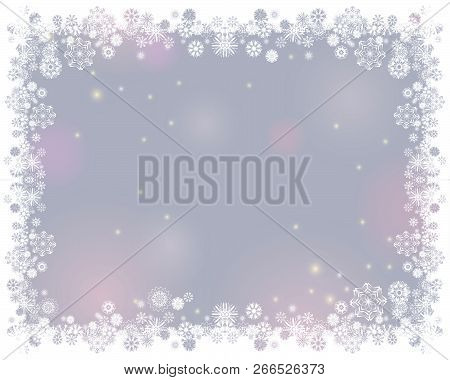 Snow White Frame On A Blurry Light Gray Background. Abstract Winter Background For Your Merry Christ
