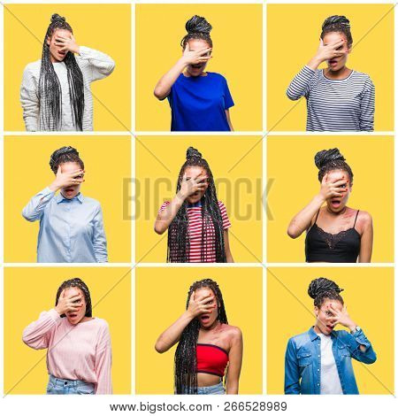 Collage of beautiful braided hair african american woman over yellow isolated background peeking in shock covering face and eyes with hand, looking through fingers with embarrassed expression.