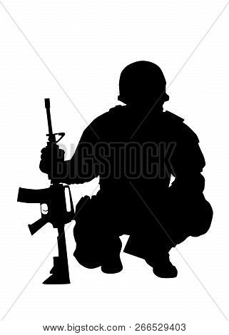 Army commando fighter isolated vector black silhouette poster