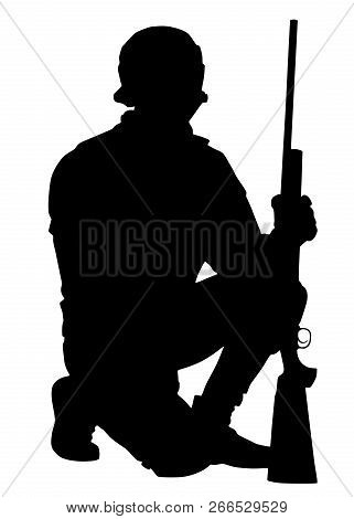Army Or Police Sniper With Rifle Vector Silhouette