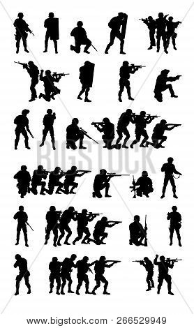 Swat Team Set Collection Vector Black Silhouette