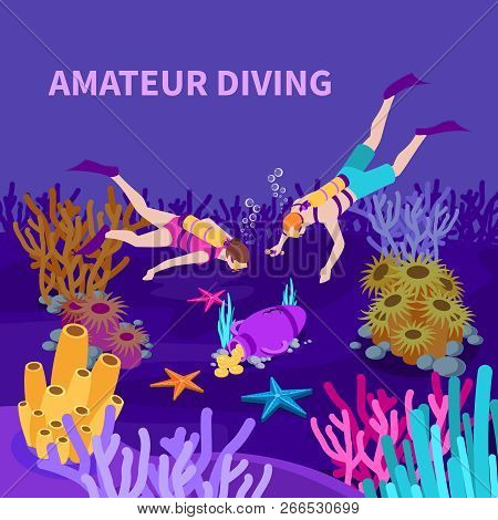 Amateur Diving Isometric Composition With Divers And Amphora With Coins At Sea Bed Violet Background