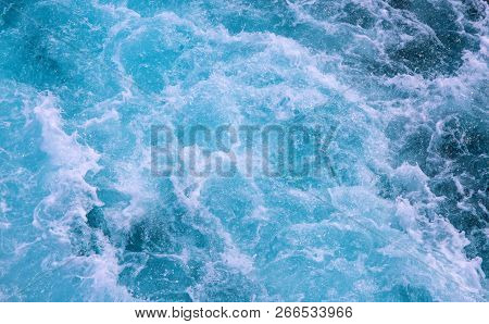 White Foamy Wave Of Ship Trail. Tropical Sea Travel. Oceanic Water Texture. Cruise Liner Seawater Tr