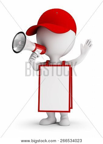 3d Small Person With Megaphone And Advertisement. 3d Image. White Background.