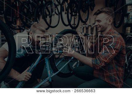 Bicycle Shop. Bicycle Repair. Customer Showing A Bicycle. Customer Bicycle Is Broken. Salesman Looki