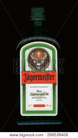 Berlin, Germany - Circa October 2018: Bottle Of Jaegermeister Herb Liqueur