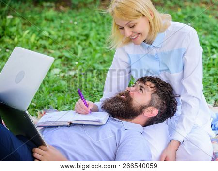 Couple In Love Or Family Work Online Business. Balance Freelance And Family Life. Man And Girl Work