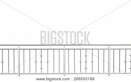 Chrome, Stainless Steel, Inox Fence Or Alu Fence. Aluminum Fence On Isolated White Background. 3d Il