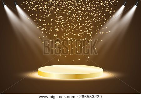 Golden Podium With A Spotlight On A Dark Background, With Fog And Confetti, The First Place, Fame An