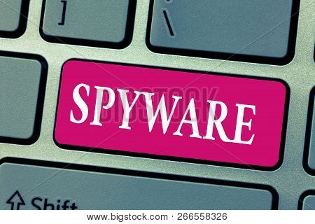 Word writing text Spyware. Business concept for Software that enables user obtain information about other computer poster