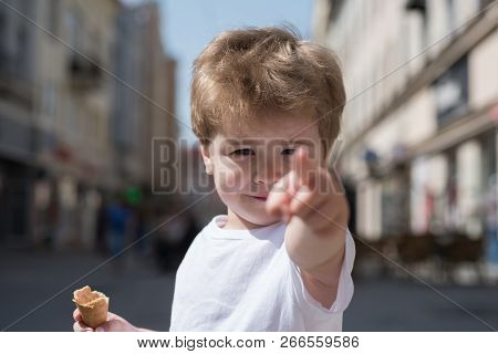 Look At That Haircut. Small Child Point Finger On Street. Little Boy With Stylish Haircut. Little Ch