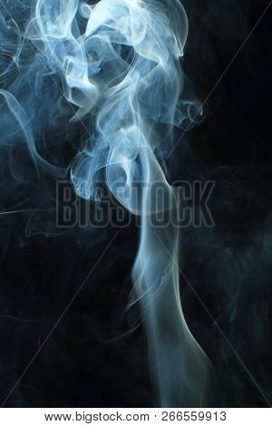Abstract White Smoke Texture On Black Background