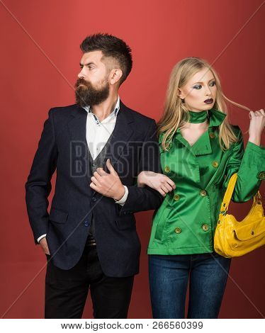 Enjoying Friendly Relations. Love Relations. Autumn Fashion Trends. Couple In Love In Fashionable St