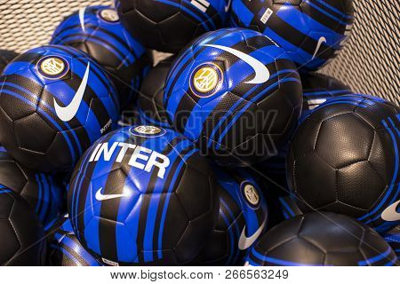 Milan, Italy - 7 June 2018: Official Store Fc Inter Milan And Milan , Clothing And Footwear Team Of
