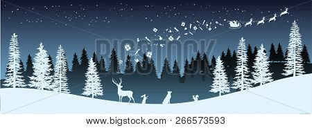 Christmas Silhouette. Panorama Of Santa Claus Riding Sleigh With Deers. Winters New Year Landscape.