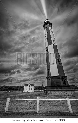 An Old Virginia Lighthouse Watches Over The Atlantic Ocean On A Stormy October Day.