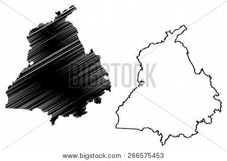 Punjab (states And Union Territories Of India, Federated States, Republic Of India) Map Vector Illus