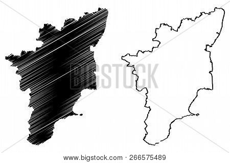 Tamil Nadu (states And Union Territories Of India, Federated States, Republic Of India) Map Vector I