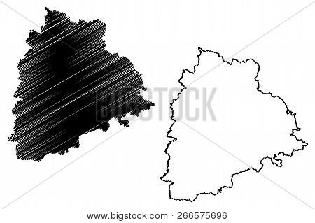 Telangana (states And Union Territories Of India, Federated States, Republic Of India) Map Vector Il