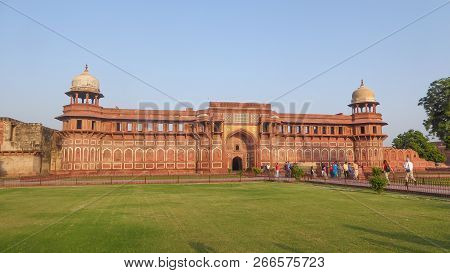 Agra, India, October 15, 2017 - The Agra Fort Is A Unesco World Heritage Site Located In Agra, India