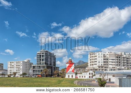 Cape Town, South Africa, August 17, 2018: The Green Point Lighthouse At Mouille Point In Cape Town I