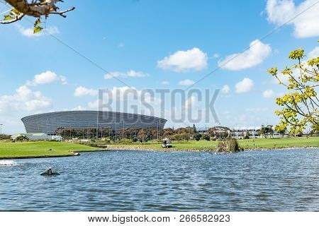 Cape Town, South Africa, August 17, 2018: The Cape Town Stadium At Green Point In Cape Town. A Golf