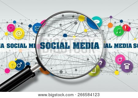 Concept Social Media. View Through The Magnifying Glass Inscription Social Media Against The Backgro
