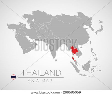 Map Of Asia With The Identication Of Thailand. Map Of South Thailand. Political Map Of Asia In Gray
